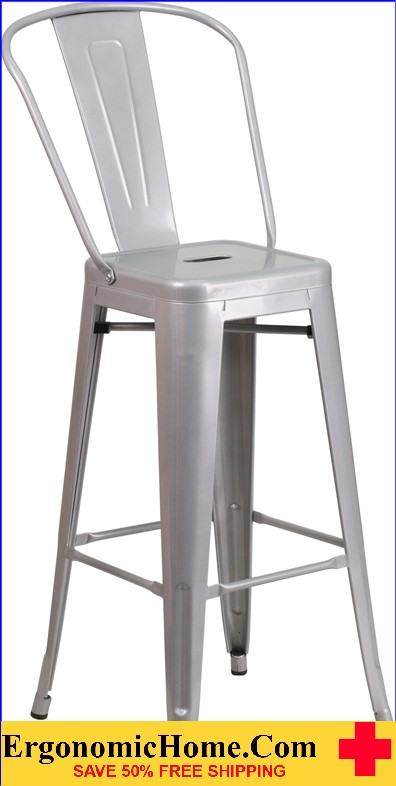 ERGONOMIC HOME 30'' High Silver Metal Indoor-Outdoor Barstool with Back|<b><font color=green>50% Off Read More Below...</font></b></font></b>