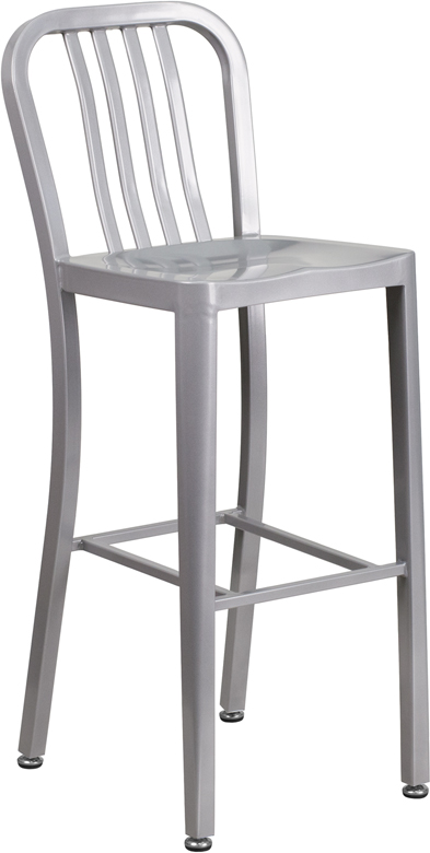 ERGONOMIC HOME 30'' High Silver Metal Indoor-Outdoor Barstool with Vertical Slat Back