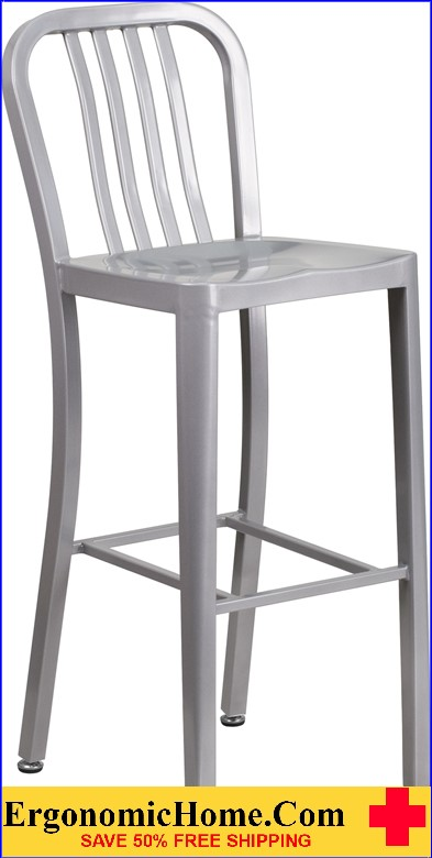 ERGONOMIC HOME 30'' High Silver Metal Indoor-Outdoor Barstool with Vertical Slat Back  | <b><font color=green>50% Off Read More Below...</font></b>