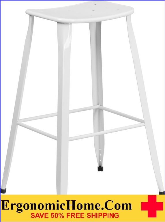 ERGONOMIC HOME 30'' High White Metal Indoor-Outdoor Barstool <b><font color=green>50% Off Read More Below...</font></b>