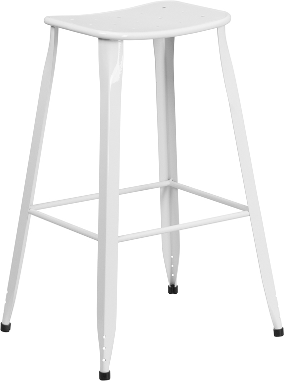 ERGONOMIC HOME 30'' High White Metal Indoor-Outdoor Barstool