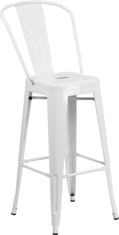ERGONOMIC HOME 30'' High White Metal Indoor-Outdoor Barstool with Back