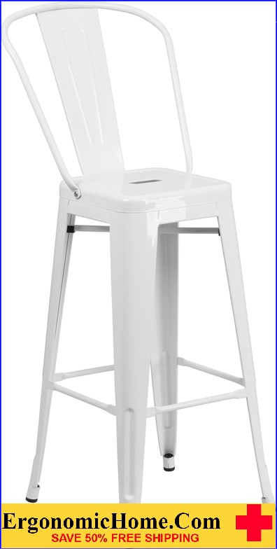 ERGONOMIC HOME 30'' High White Metal Indoor-Outdoor Barstool with Back|<b><font color=green>50% Off Read More Below...</font></b></font></b>