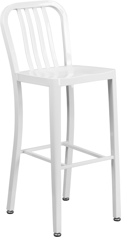 ERGONOMIC HOME 30'' High White Metal Indoor-Outdoor Barstool with Vertical Slat Back