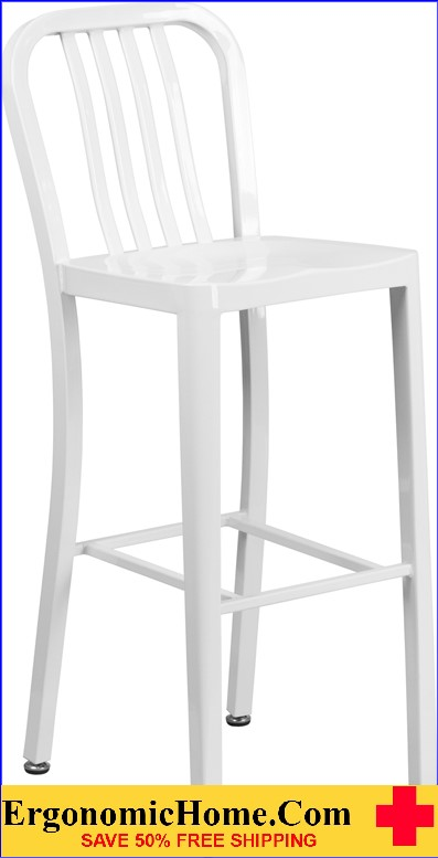 ERGONOMIC HOME 30'' High White Metal Indoor-Outdoor Barstool with Vertical Slat Back|<b><font color=green>50% Off Read More Below...</font></b></font></b>