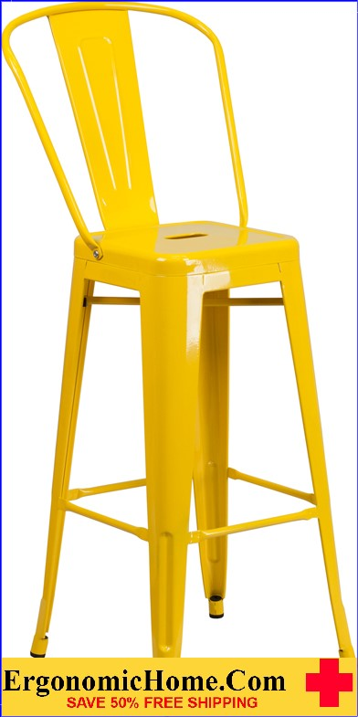 ERGONOMIC HOME 30'' High Yellow Metal Indoor-Outdoor Barstool with Back|<b><font color=green>50% Off Read More Below...</font></b></font></b>