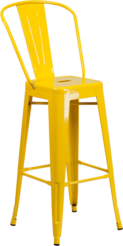 ERGONOMIC HOME 30'' High Yellow Metal Indoor-Outdoor Barstool with Back