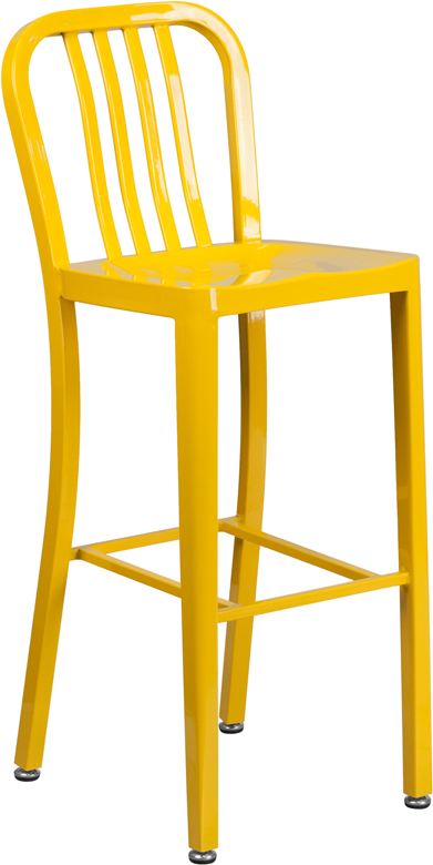 ERGONOMIC HOME 30'' High Yellow Metal Indoor-Outdoor Barstool with Vertical Slat Back