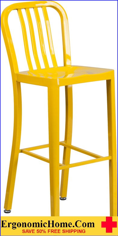 ERGONOMIC HOME 30'' High Yellow Metal Indoor-Outdoor Barstool with Vertical Slat Back|<b><font color=green>50% Off Read More Below...</font></b></font></b>