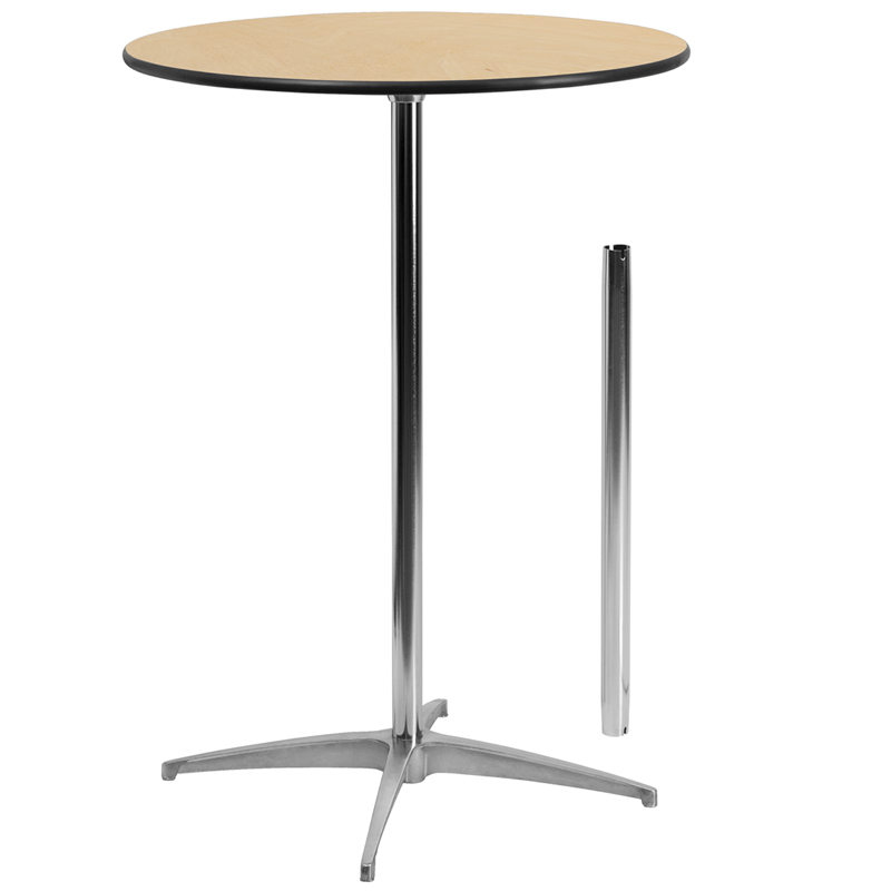 ERGONOMIC HOME 30'' Round Wood Cocktail Table with 30'' and 42'' Columns
