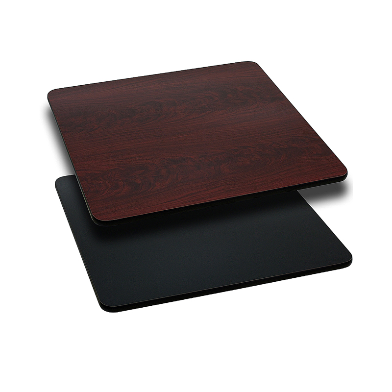 ERGONOMIC HOME 30'' Square Table Top with Black or Mahogany Reversible Laminate Top