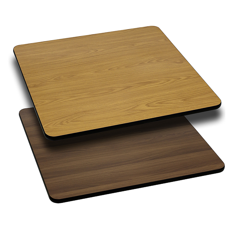ERGONOMIC HOME 30'' Square Table Top with Natural or Walnut Reversible Laminate Top