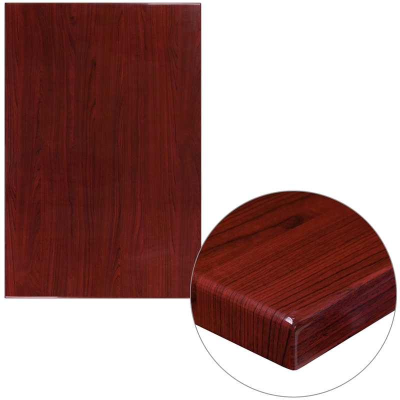 ERGONOMIC HOME 30'' x 45'' Rectangular Resin Mahogany Table Top