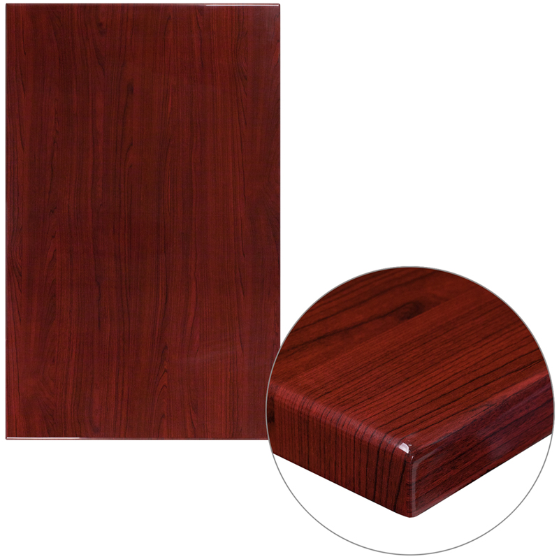 ERGONOMIC HOME 30'' x 48'' Rectangular Resin Mahogany Table Top