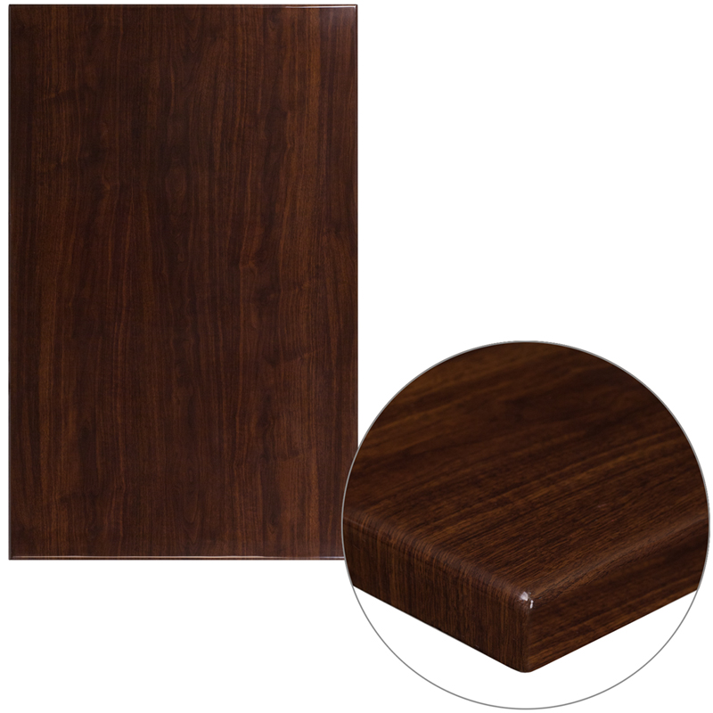 ERGONOMIC HOME 30'' x 48'' Rectangular Resin Walnut Table Top