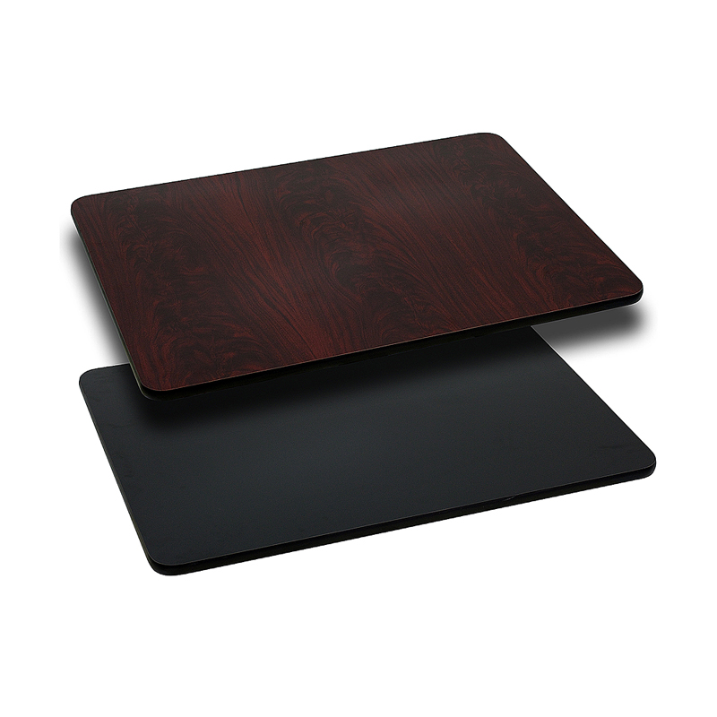 ERGONOMIC HOME 30'' x 48'' Rectangular Table Top with Black or Mahogany Reversible Laminate Top