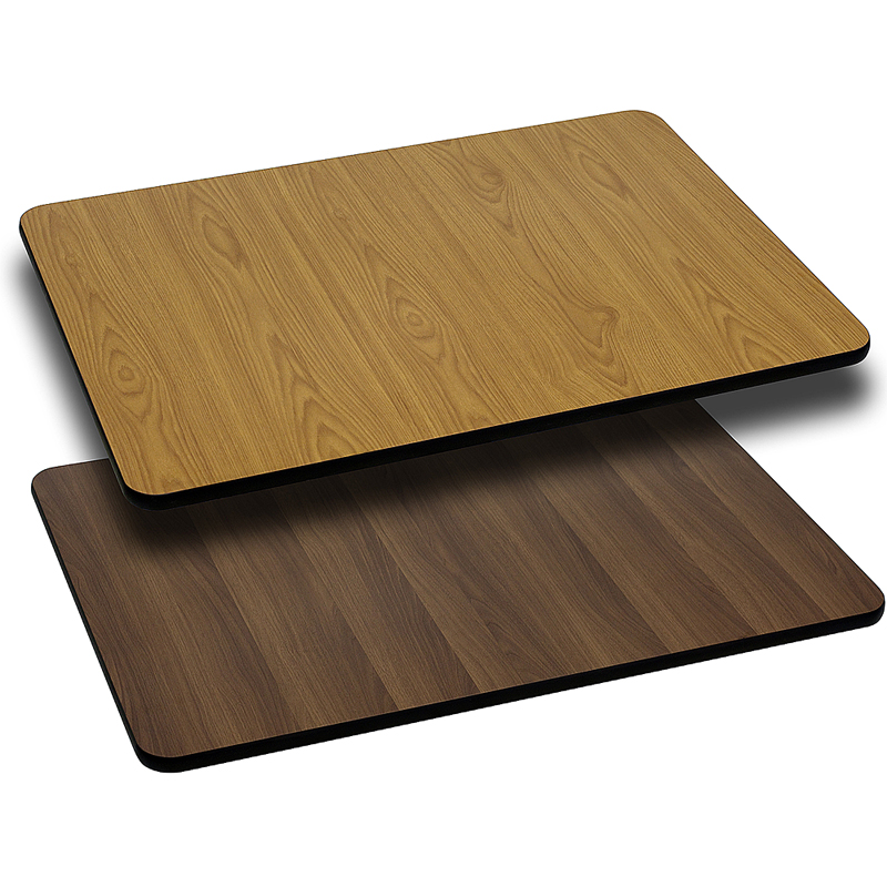 ERGONOMIC HOME 30'' x 60'' Rectangular Table Top with Natural or Walnut Reversible Laminate Top