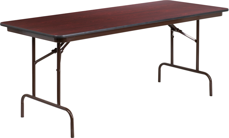 ERGONOMIC HOME 30'' x 72'' Rectangular Mahogany Melamine Laminate Folding Banquet Table