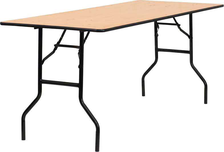ERGONOMIC HOME 30'' x 72'' Rectangular Wood Folding Banquet Table with Clear Coated Finished Top