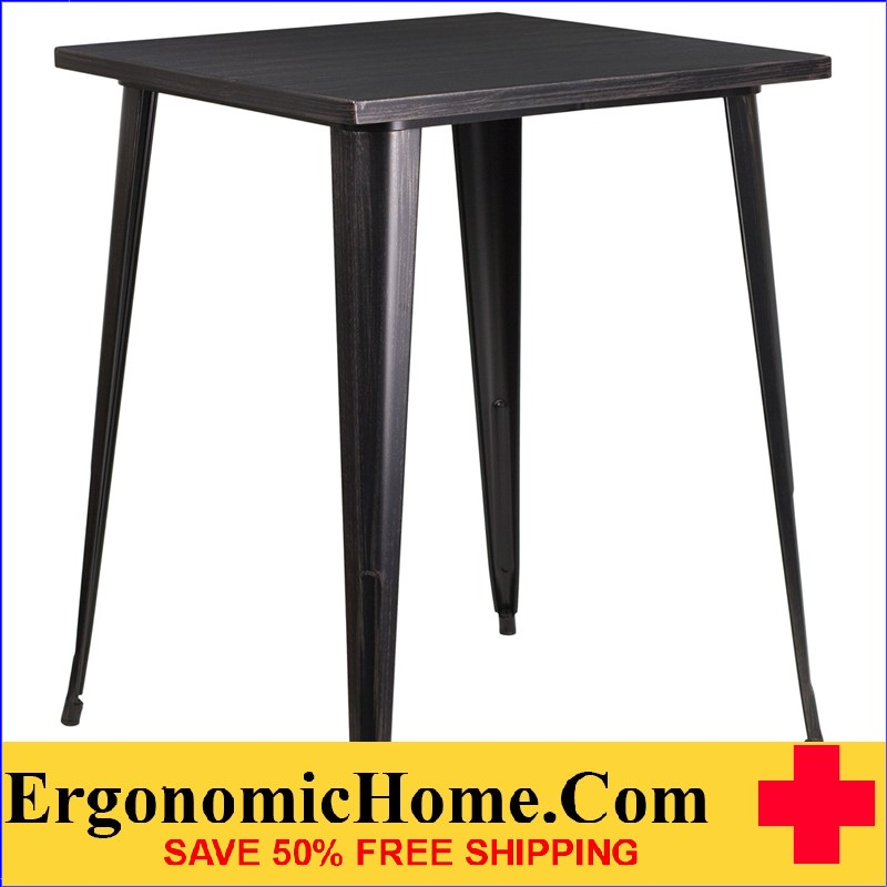 ERGONOMIC HOME 31.5'' Square Bar Height Black-Antique Gold Metal Indoor-Outdoor Table | <b><font color=green>50% Off Read More Below...</font></b>