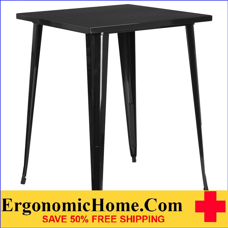 ERGONOMIC HOME 31.5'' Square Bar Height Black Metal Indoor-Outdoor Table | <b><font color=green>50% Off Read More Below...</font></b>
