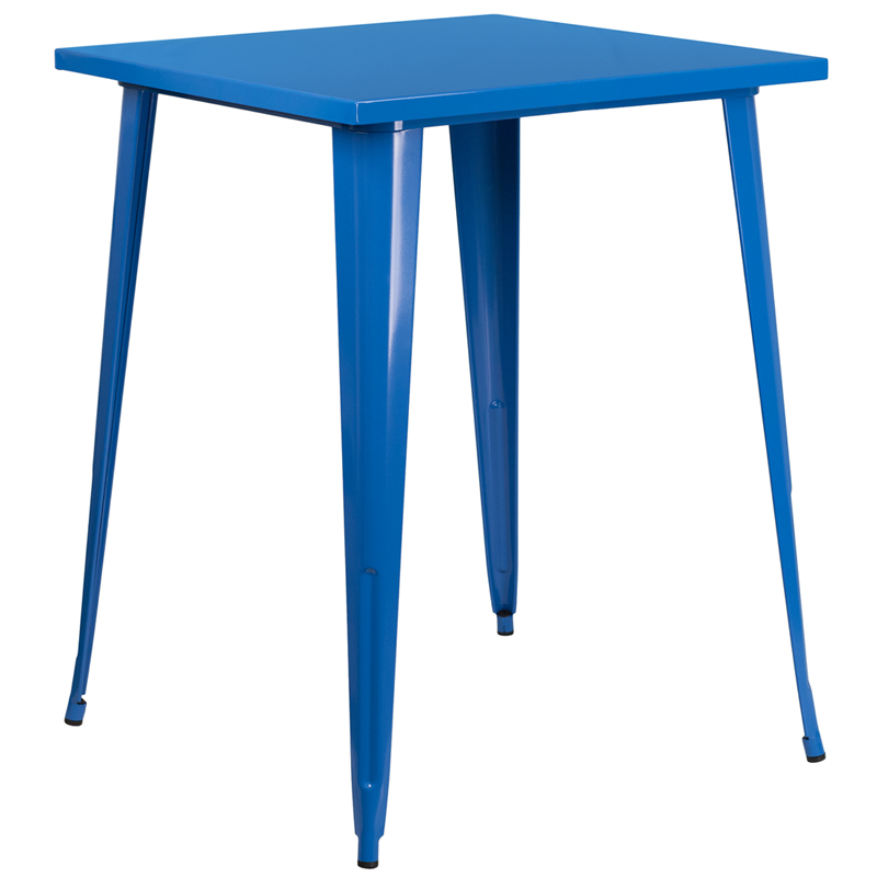 ERGONOMIC HOME 31.5'' Square Bar Height Blue Metal Indoor-Outdoor Table