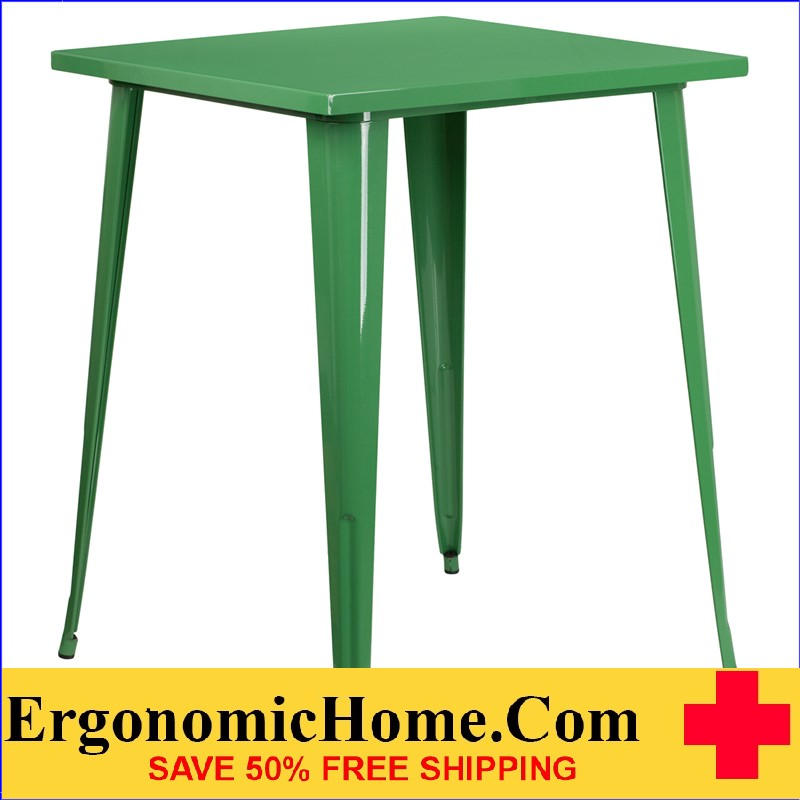 ERGONOMIC HOME 31.5'' Square Bar Height Green Metal Indoor-Outdoor Table | <b><font color=green>50% Off Read More Below...</font></b>