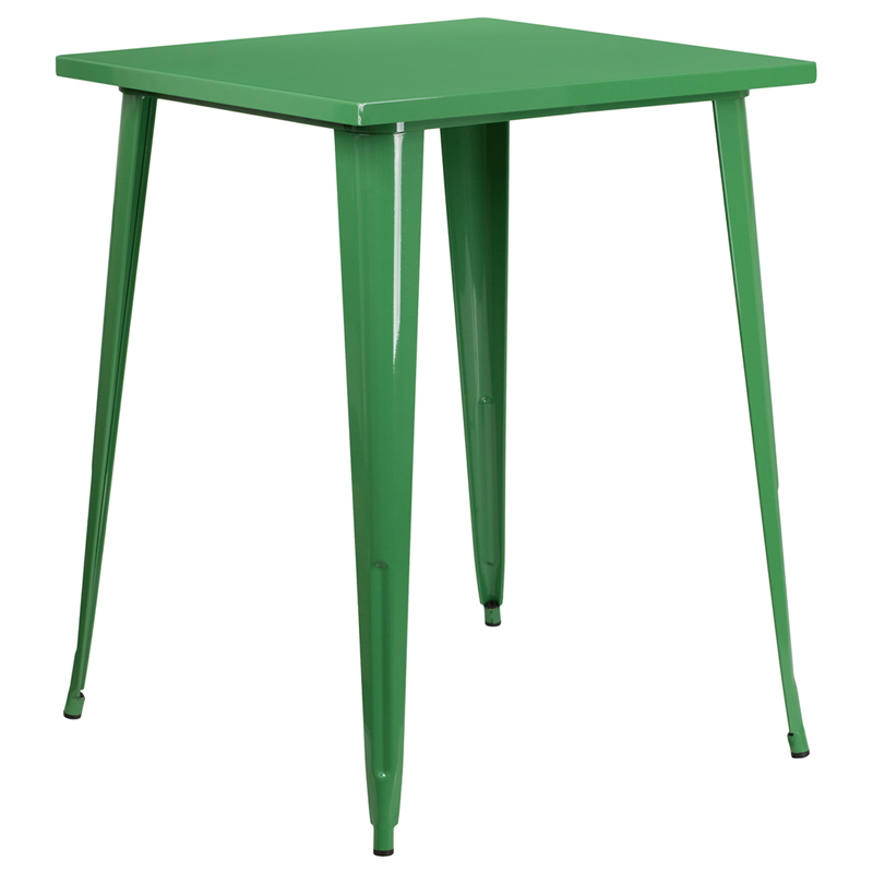 ERGONOMIC HOME 31.5'' Square Bar Height Green Metal Indoor-Outdoor Table