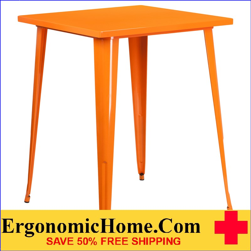ERGONOMIC HOME 31.5'' Square Bar Height Orange Metal Indoor-Outdoor Table | <b><font color=green>50% Off Read More Below...</font></b>