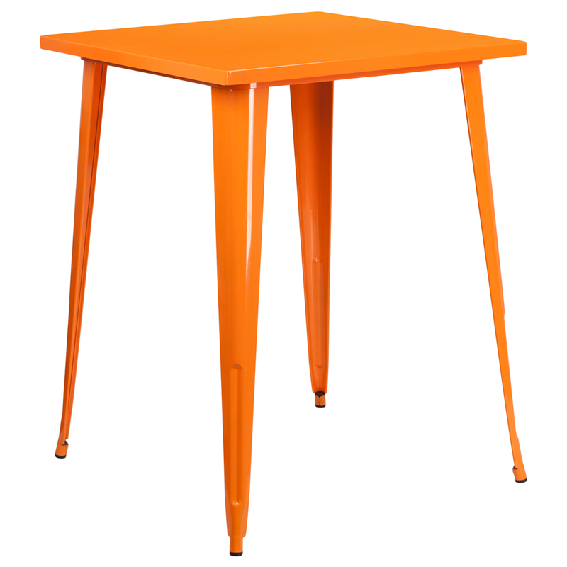 ERGONOMIC HOME 31.5'' Square Bar Height Orange Metal Indoor-Outdoor Table