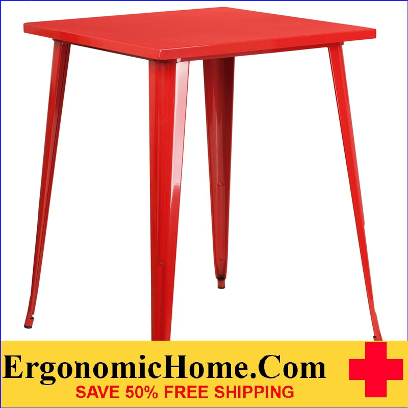 ERGONOMIC HOME 31.5'' Square Bar Height Red Metal Indoor-Outdoor Table | <b><font color=green>50% Off Read More Below...</font></b>