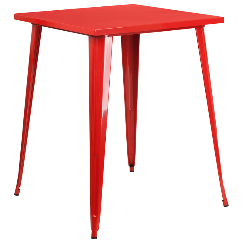 ERGONOMIC HOME 31.5'' Square Bar Height Red Metal Indoor-Outdoor Table