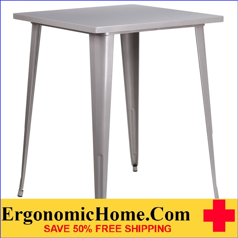 ERGONOMIC HOME 31.5'' Square Bar Height Silver Metal Indoor-Outdoor Table | <b><font color=green>50% Off Read More Below...</font></b>