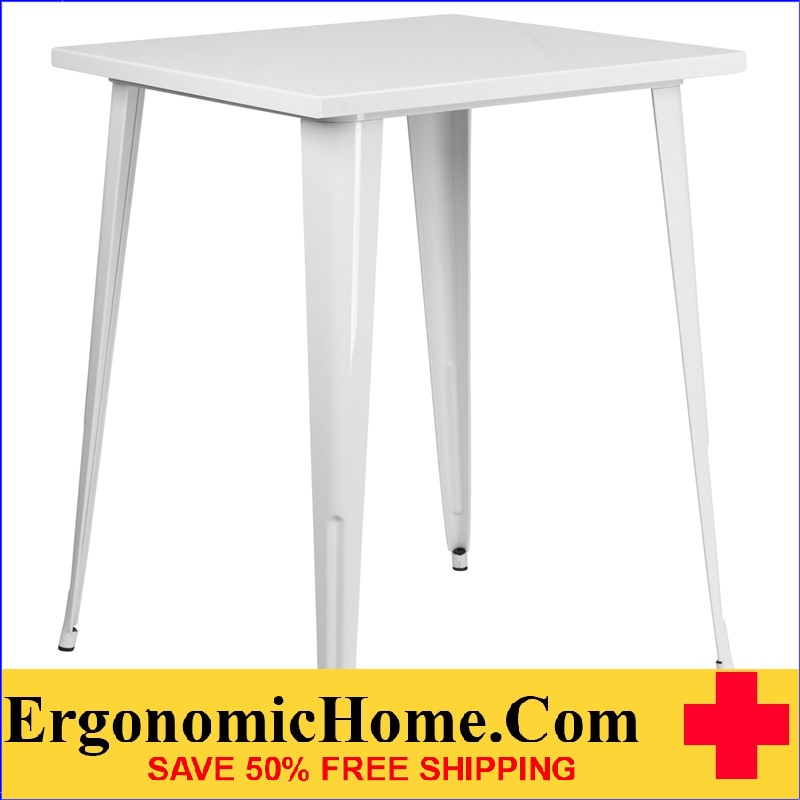 ERGONOMIC HOME 31.5'' Square Bar Height White Metal Indoor-Outdoor Table | <b><font color=green>50% Off Read More Below...</font></b>