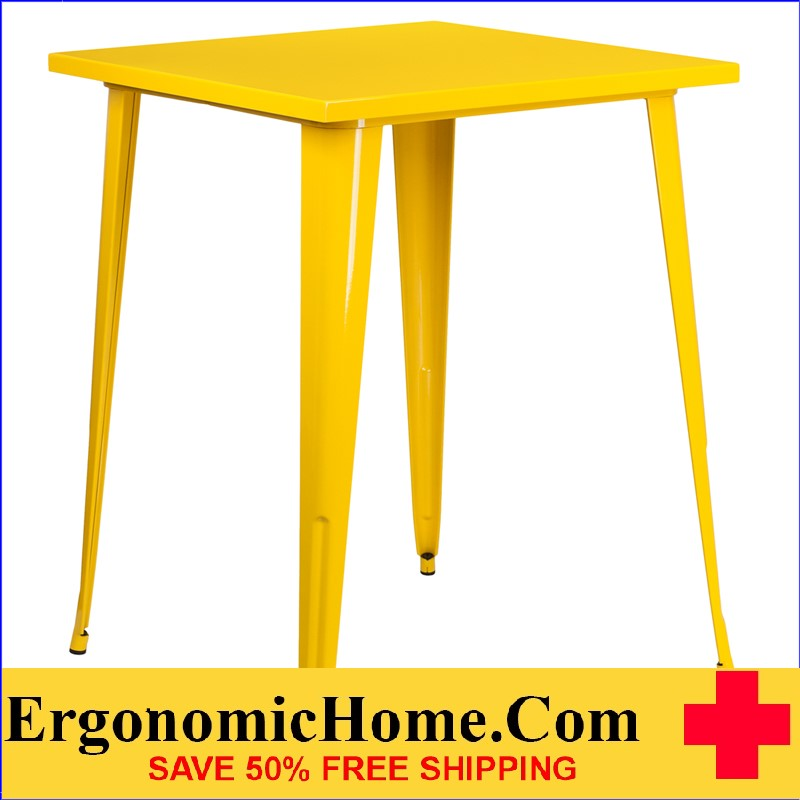ERGONOMIC HOME 31.5'' Square Bar Height Yellow Metal Indoor-Outdoor Table | <b><font color=green>50% Off Read More Below...</font></b>