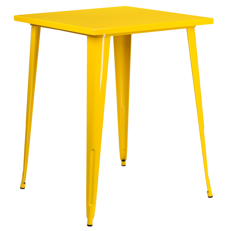 ERGONOMIC HOME 31.5'' Square Bar Height Yellow Metal Indoor-Outdoor Table