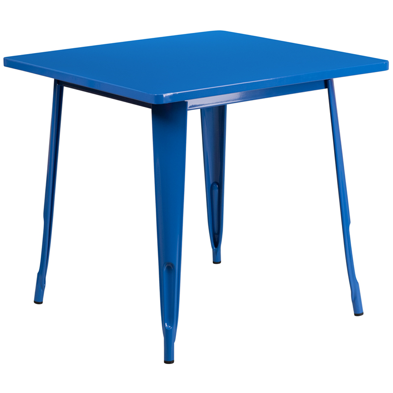 ERGONOMIC HOME 31.5'' Square Blue Metal Indoor-Outdoor Table