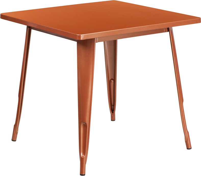 ERGONOMIC HOME 31.5'' Square Copper Metal Indoor-Outdoor Table