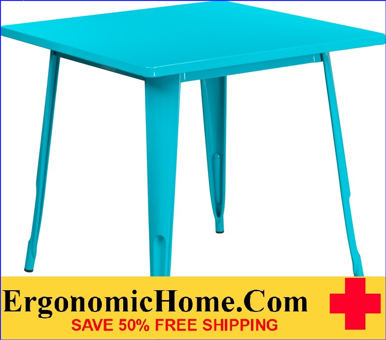 ERGONOMIC HOME 31.5'' Square Crystal Blue Metal Indoor-Outdoor Table <b><font color=green>50% Off Read More Below...</font></b>