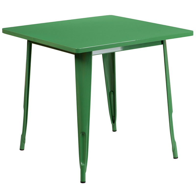 ERGONOMIC HOME 31.5'' Square Green Metal Indoor-Outdoor Table