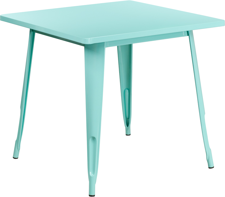ERGONOMIC HOME 31.5'' Square Mint Green Metal Indoor-Outdoor Table