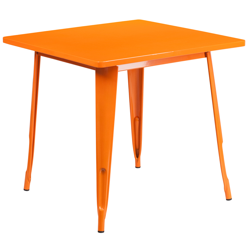 ERGONOMIC HOME 31.5'' Square Orange Metal Indoor-Outdoor Table