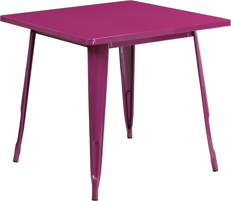 ERGONOMIC HOME 31.5'' Square Purple Metal Indoor-Outdoor Table