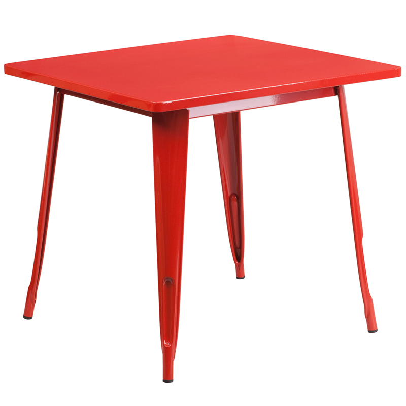 ERGONOMIC HOME 31.5'' Square Red Metal Indoor-Outdoor Table