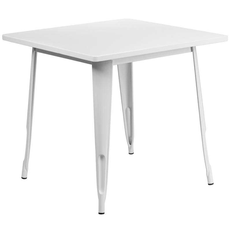 ERGONOMIC HOME 31.5'' Square White Metal Indoor-Outdoor Table