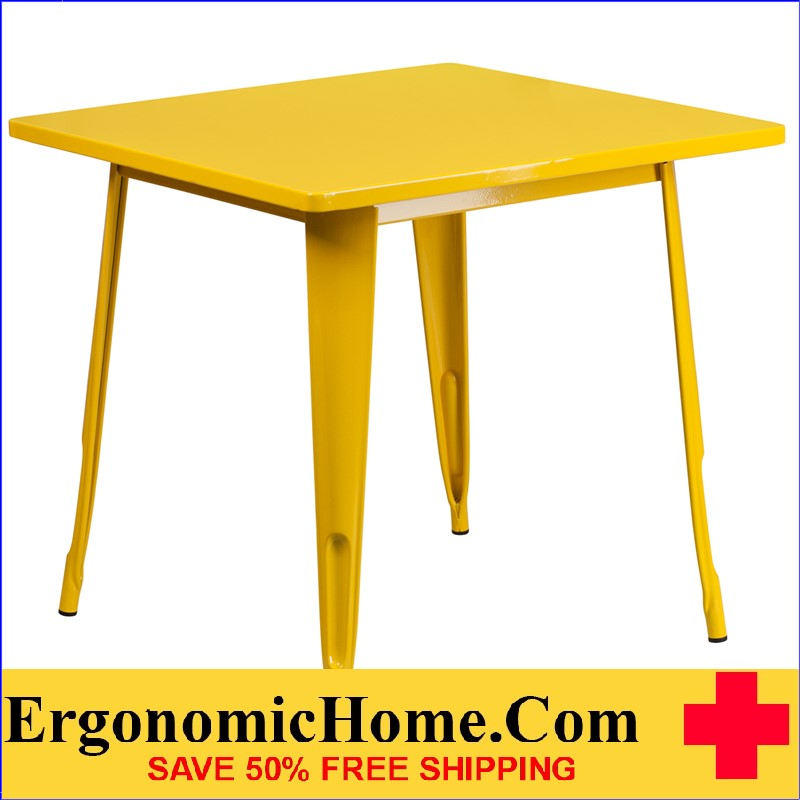 ERGONOMIC HOME 31.5'' Square Yellow Metal Indoor-Outdoor Table <b><font color=green>50% Off Read More Below...</font></b>