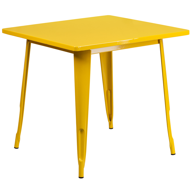 ERGONOMIC HOME 31.5'' Square Yellow Metal Indoor-Outdoor Table