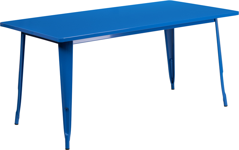 ERGONOMIC HOME 31.5'' x 63'' Rectangular Blue Metal Indoor-Outdoor Table