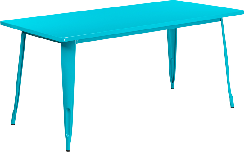 31.5'' x 63'' Rectangular Crystal Blue Metal Indoor-Outdoor Table