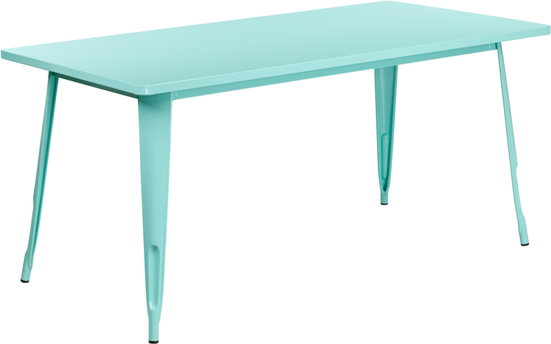 ERGONOMIC HOME 31.5'' x 63'' Rectangular Mint Green Metal Indoor-Outdoor Table
